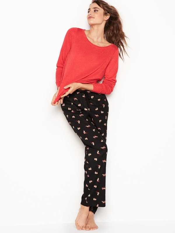 9966200314 New Victoria's Secret Flannel Pajamas Lounge PJ Set Red Black Fox ...