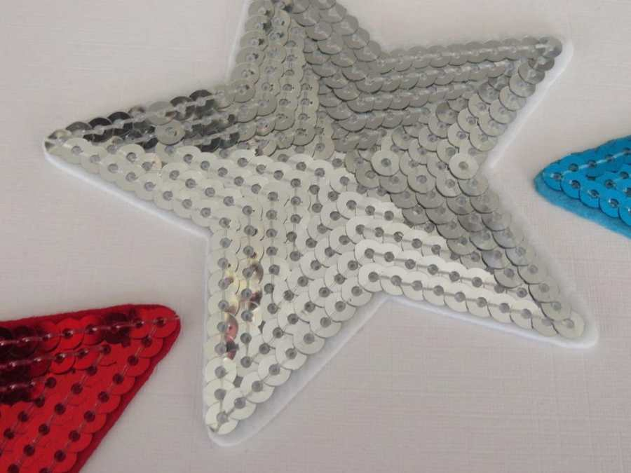 3 Pieces of 9cm Embroidered sequin stars IRON-ON patch applique ...