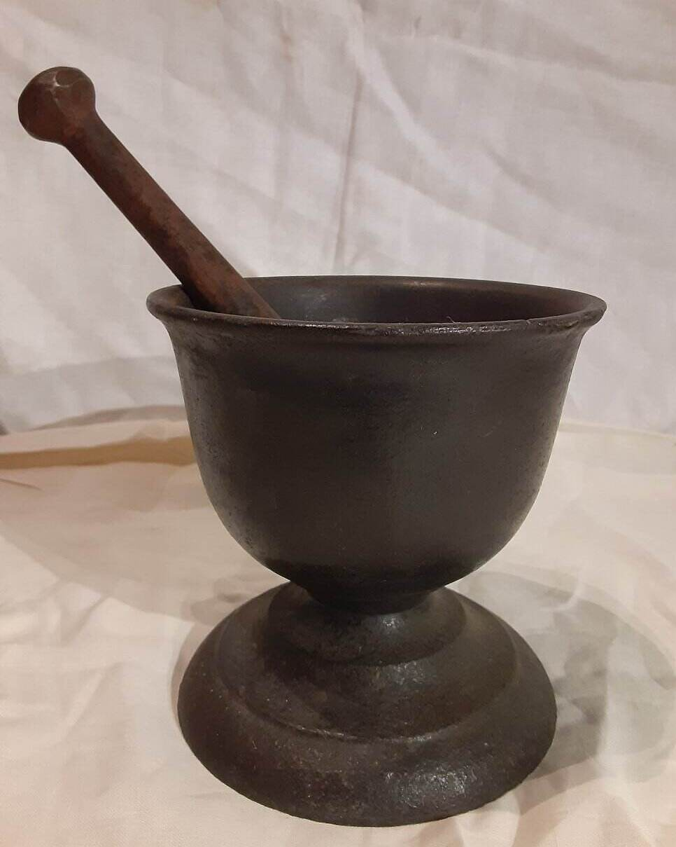 PRIMITIVE 18 cent. LARGE BRONZE FOOTED MORTAR & PESTLE ANTIQUE