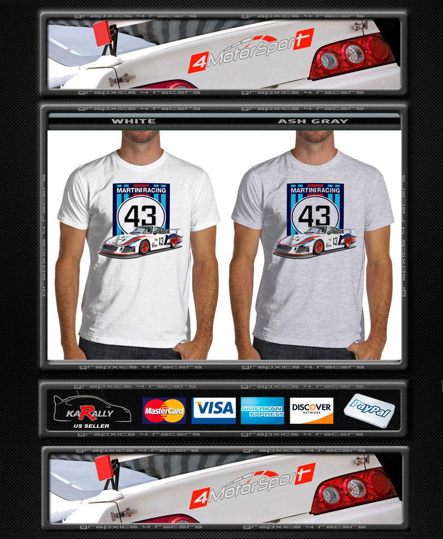 911 RSR Martini Racing Soft T-Shirt White or Gray 24 LeMans Ruf