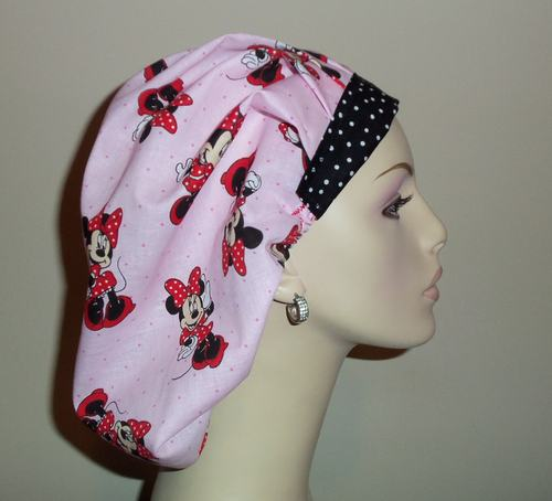 Minnie Mouse & Dots Pink  Scrub Hat.