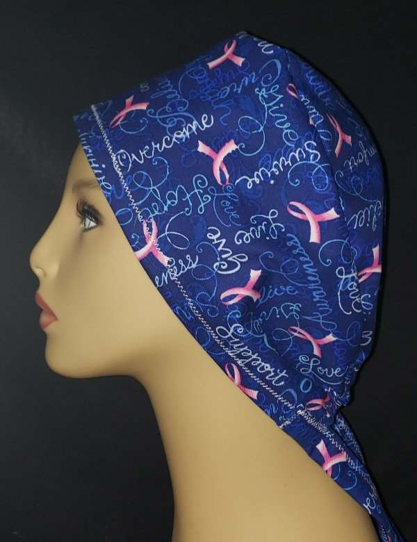Cancer Pink Ribbon And Blue Tie Back