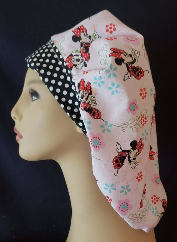 Minnie Mouse Bouffant & Dots Tie Back Scrub Hat