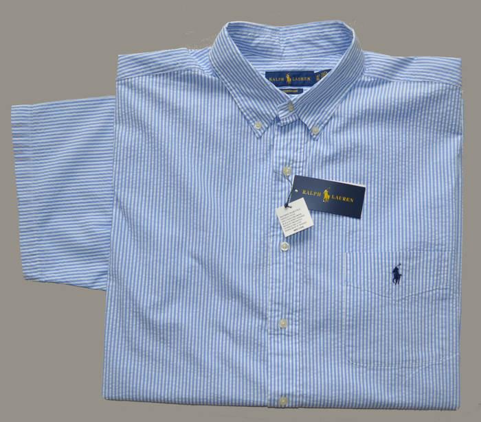 New 3xlt Polo Ralph Lauren Mens Seersucker Shirt Cotton Top Blue
