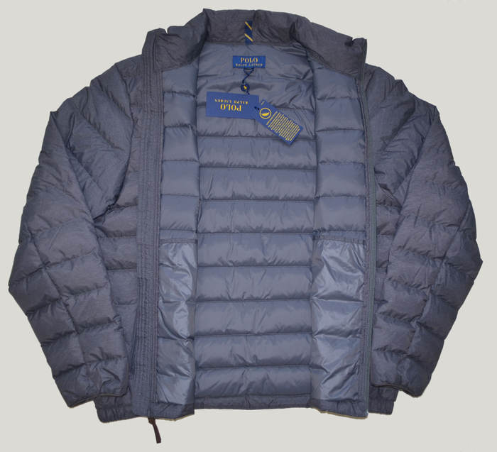 New POLO RALPH LAUREN Mens packable puffer down winter ski jacket coat Navy Blue