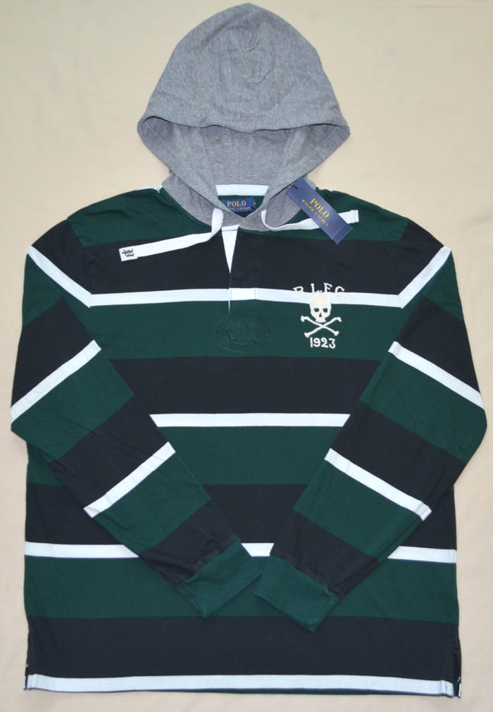 b12aacdd69e New Large L Polo Ralph Lauren Mens hooded Rugby shirt T-shirt hoodie ...
