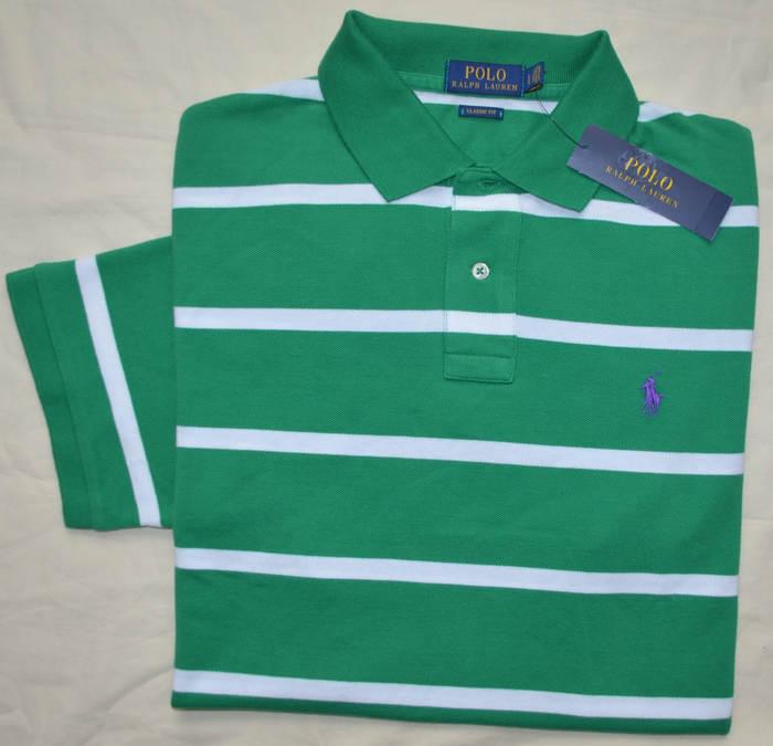 1782852ff31e Details about New XXL 2XL POLO RALPH LAUREN Mens short sleeve mesh polo  shirt green stripe top