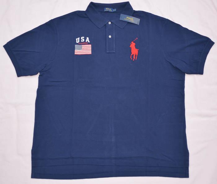 New 5xb 5xl big 5x polo ralph lauren mens big pony us flag for Mens 5x polo shirts